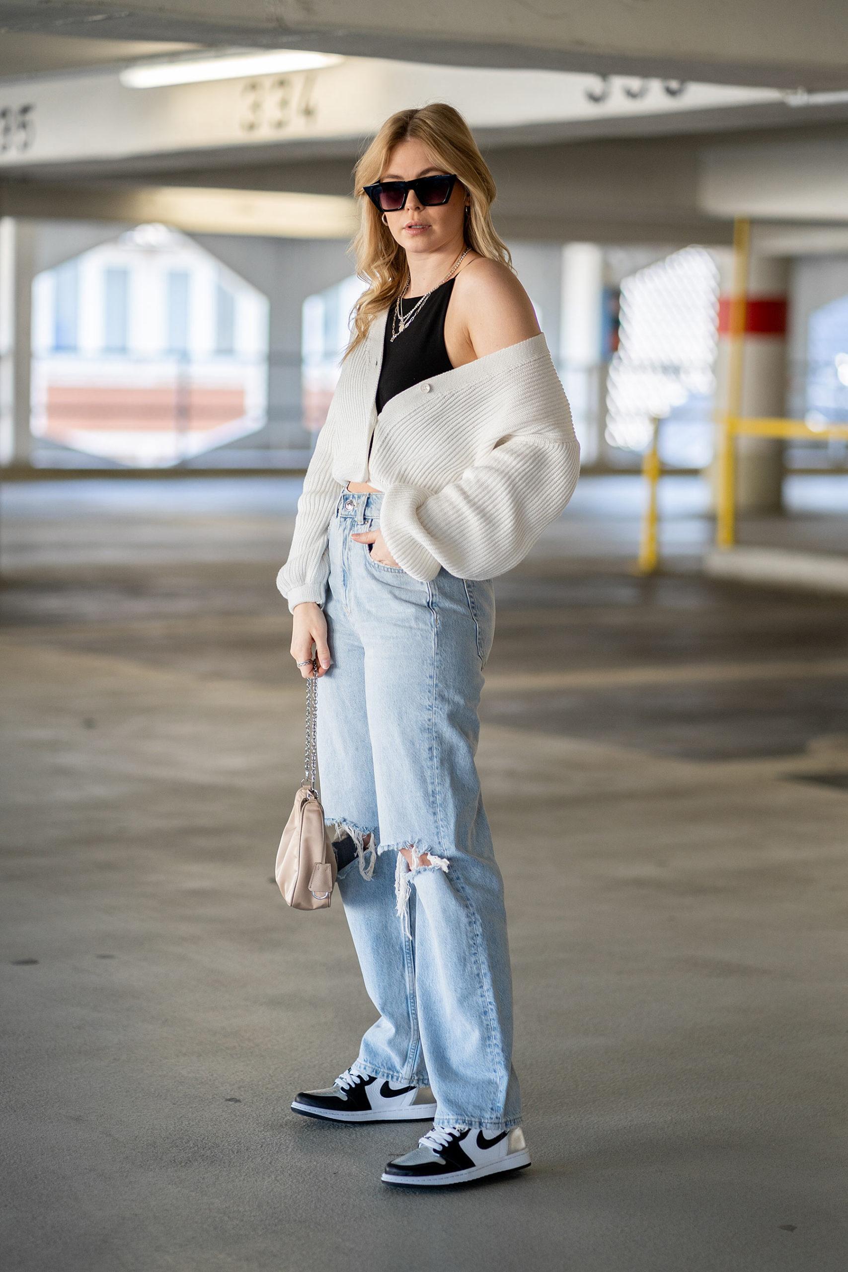 jeans 90s outfit strickjacke mode blog sunnyinga