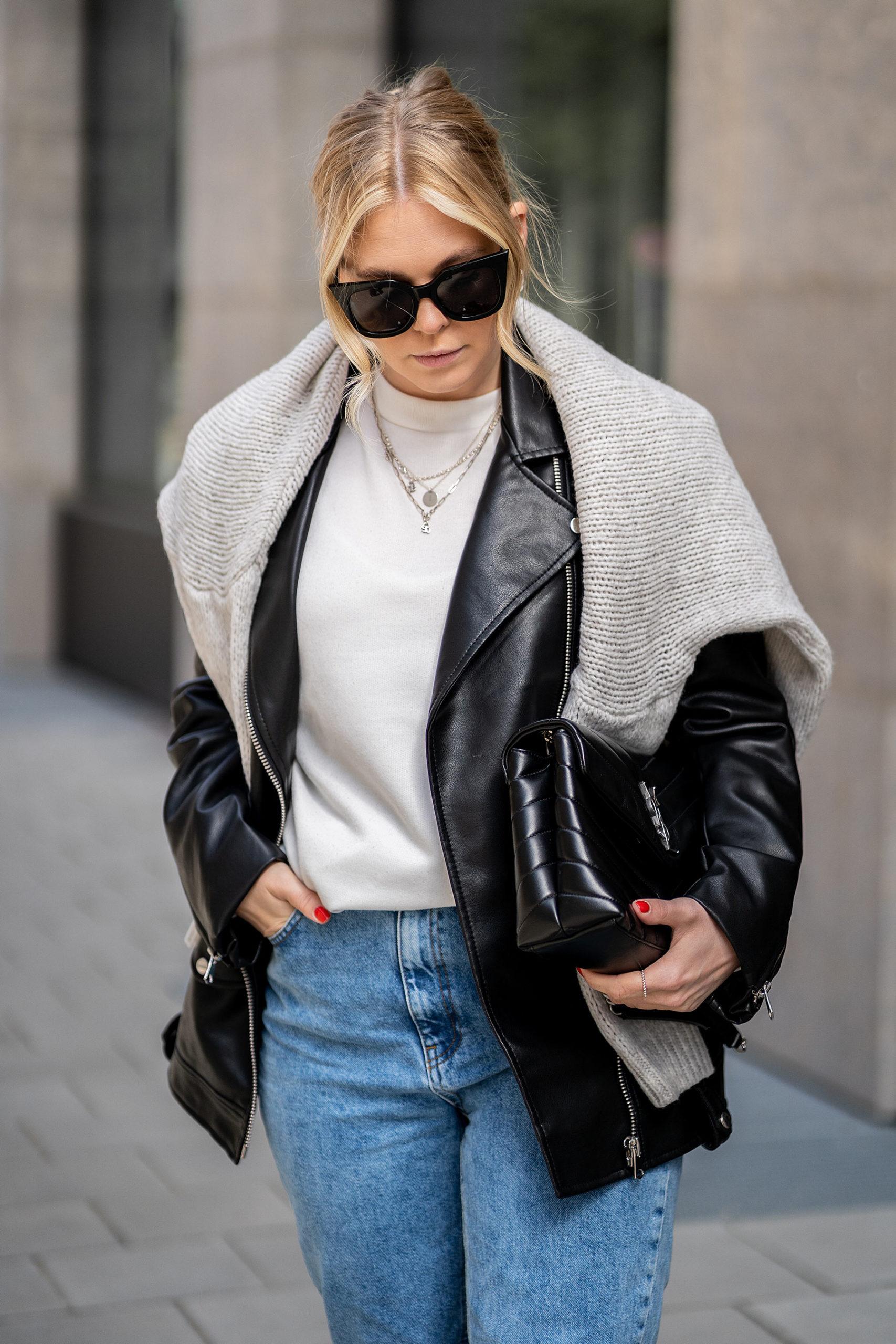 outfit oversize lederjacke strickpullover streetstyle blog sunnyinga