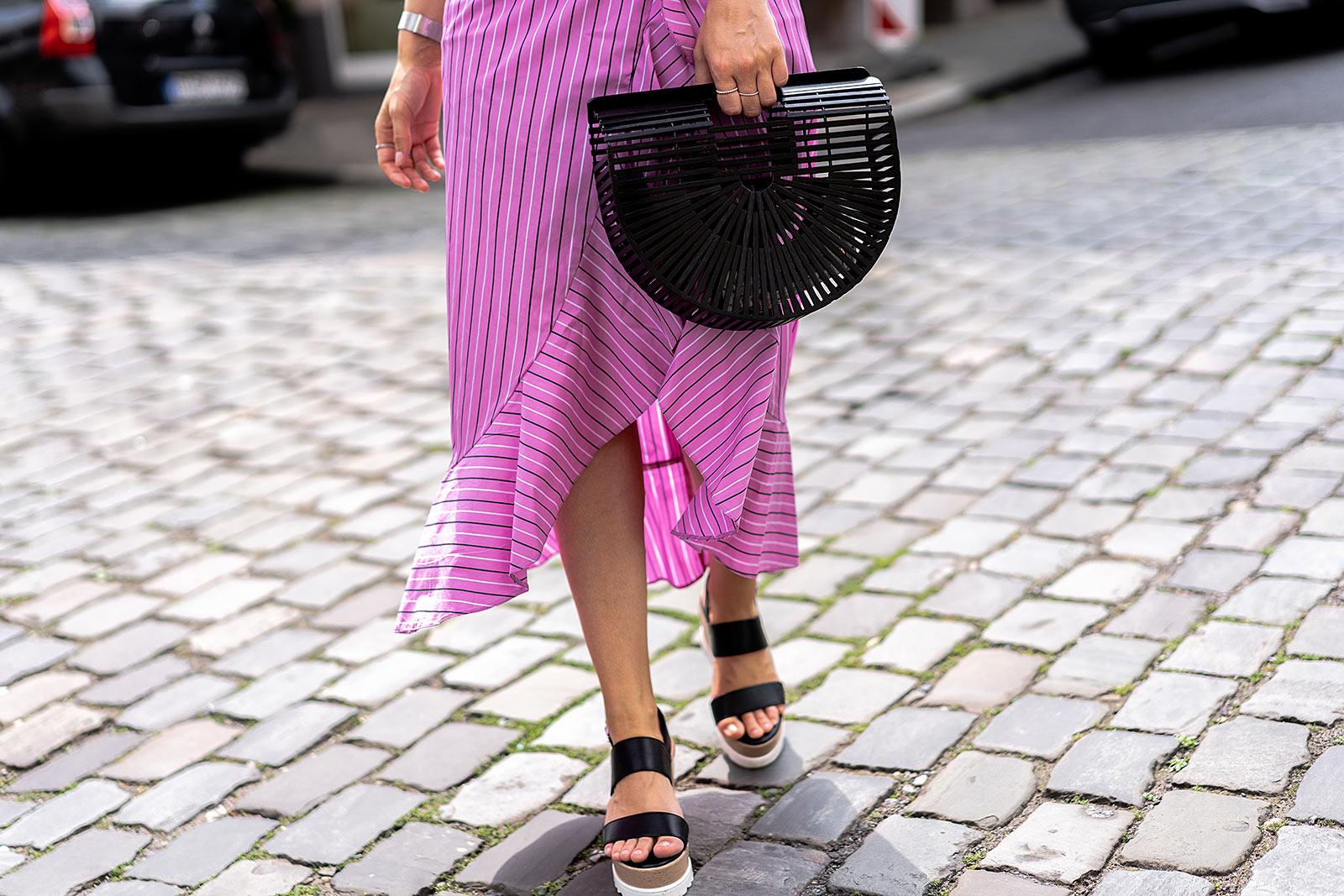 bambus tasche schwarz asos outfit midirock fashion sunnyinga