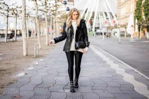 Biker Boots mit Perlen schwarz Sacha Schuhe Fashion Blog Sunnyinga