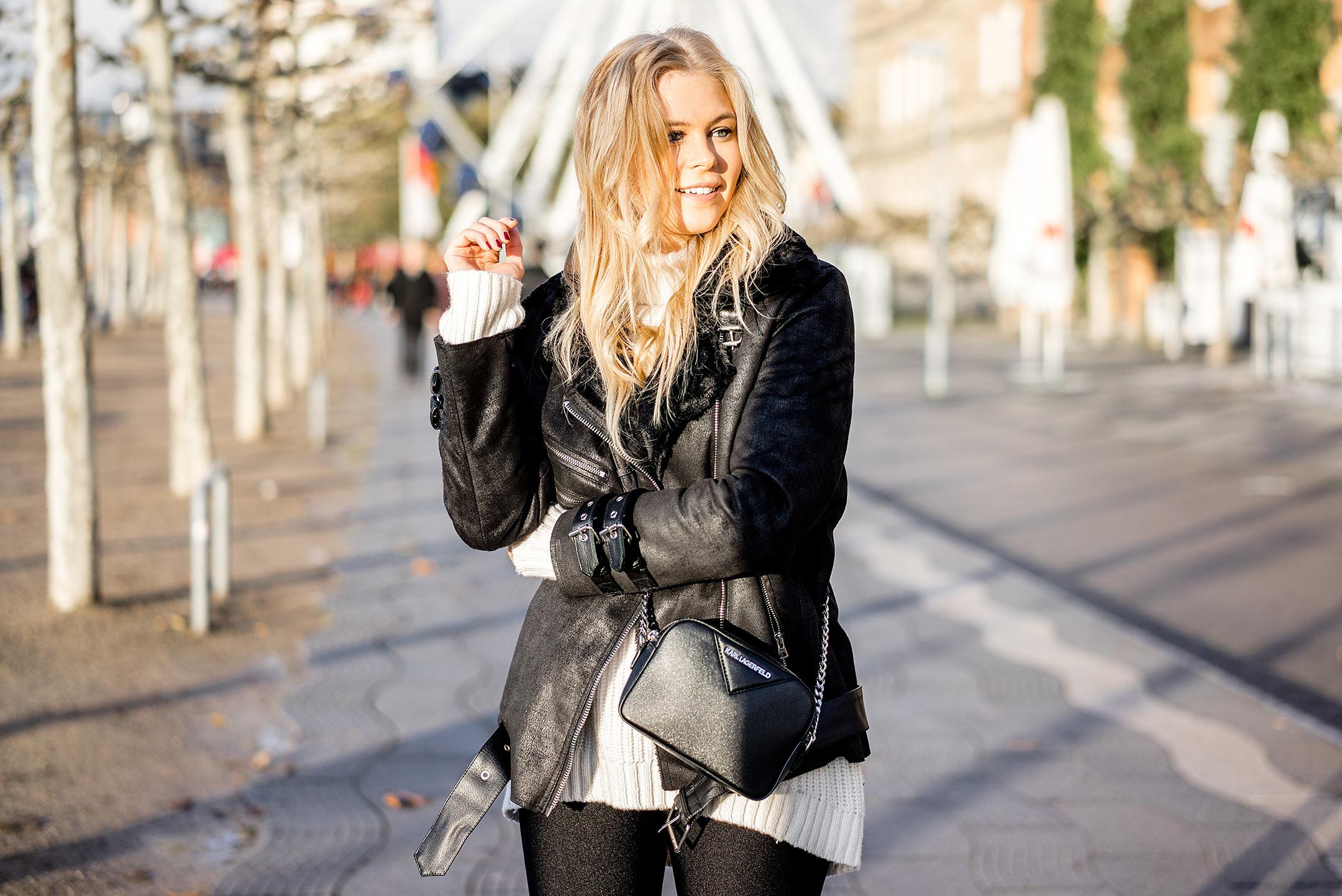 Biker Jacke mit Fell schwarz Modeblog Düsseldorf Sunnyinga