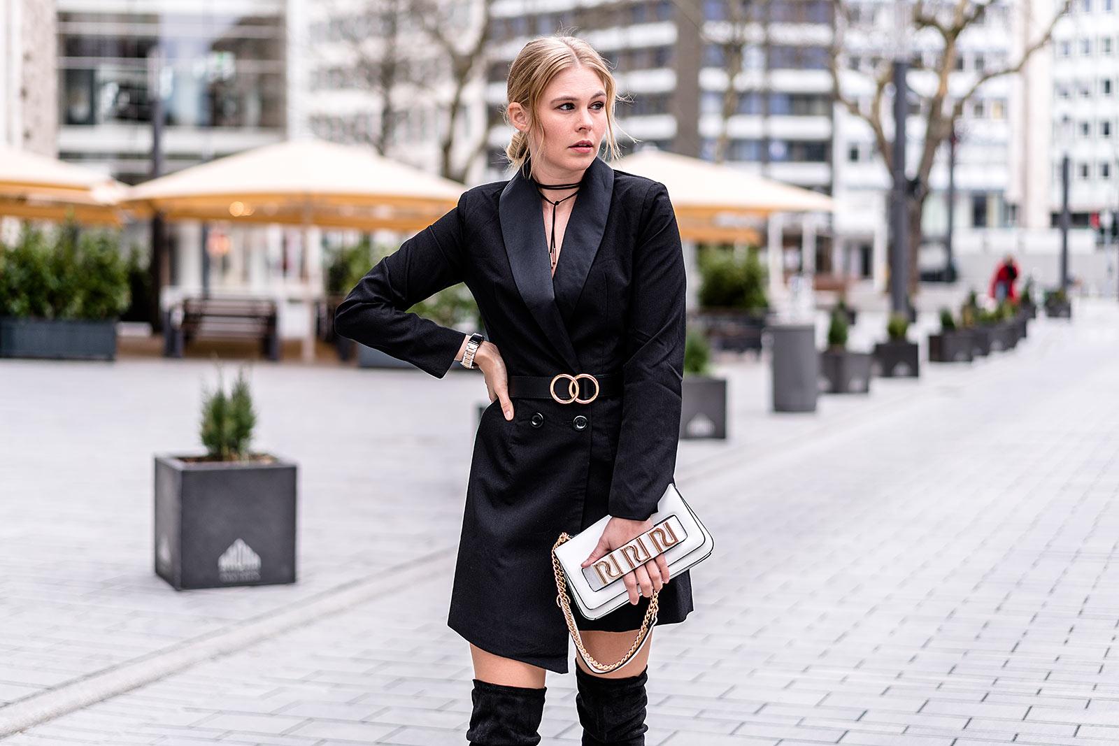 blazerkleid schwarz outfit fashion blogger streetstyle trend düsseldorf sunnyinga