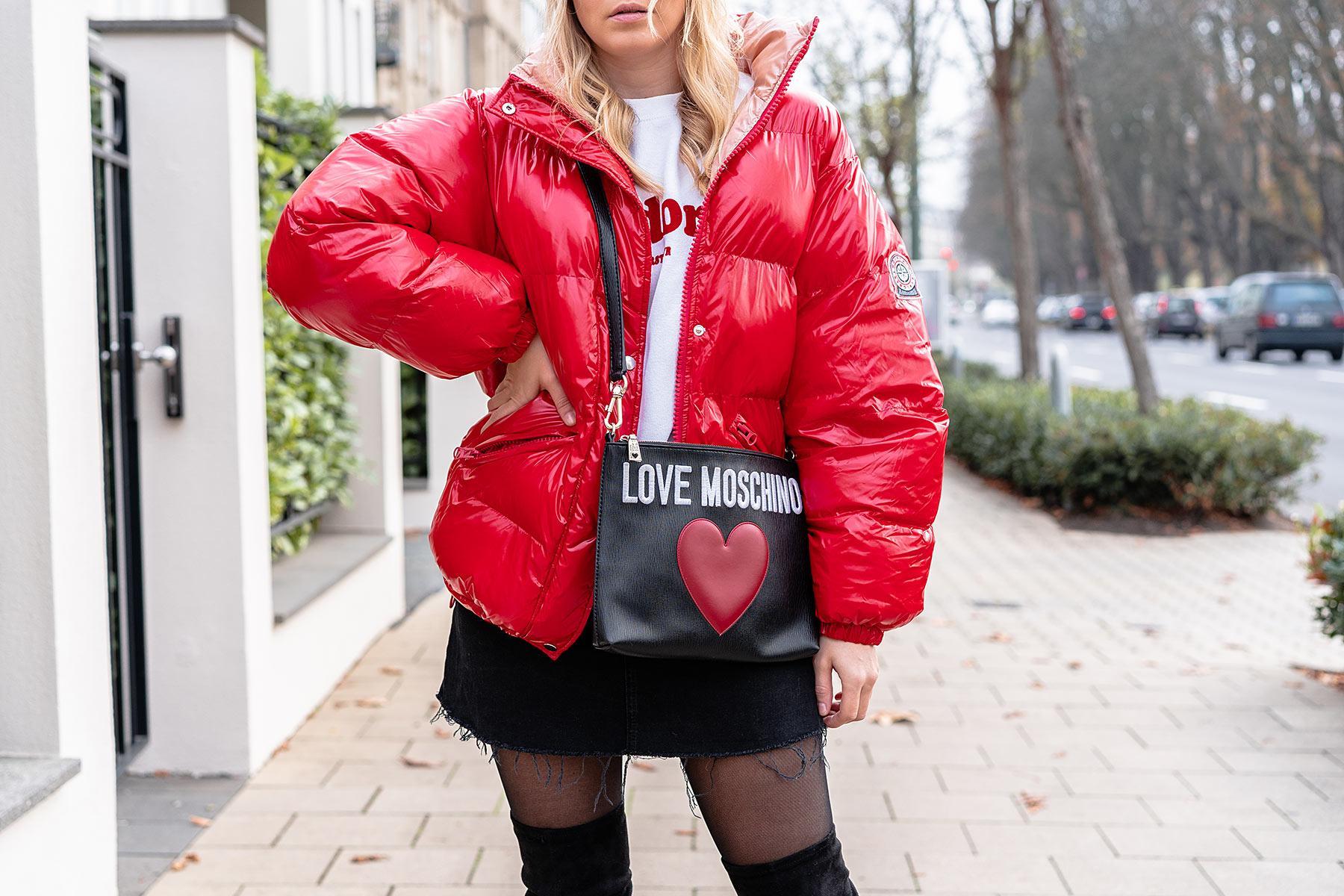 boohoo rote jacke puffer jacket outfit sunnyinga