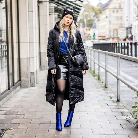 Daunenmantel Damen schwarz blau kombinieren Winter Outfit Fashion Blogger Sunnyinga Düsseldorf