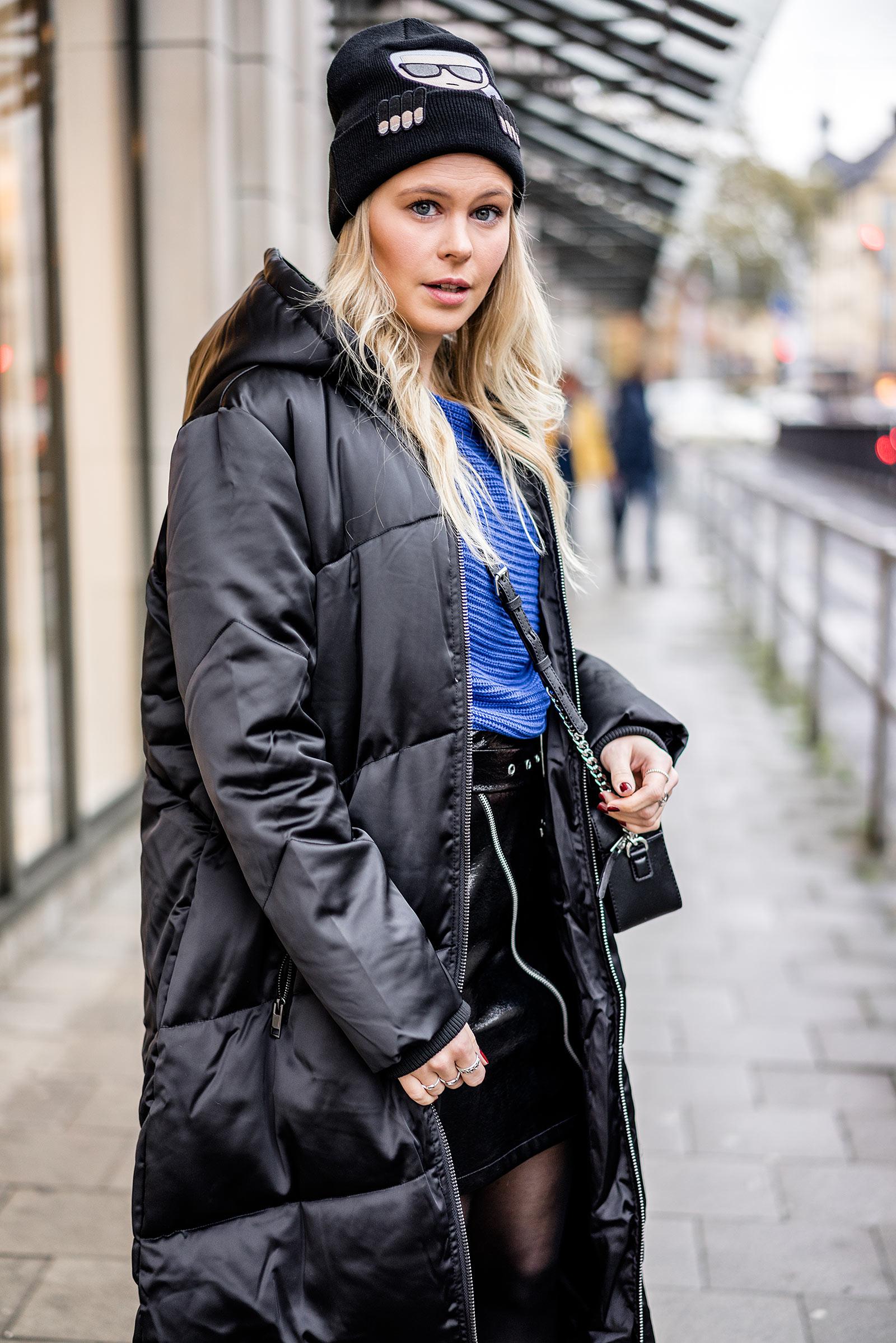 Daunenmantel schwarz Outfit Trend Modeblog Sunnyinga