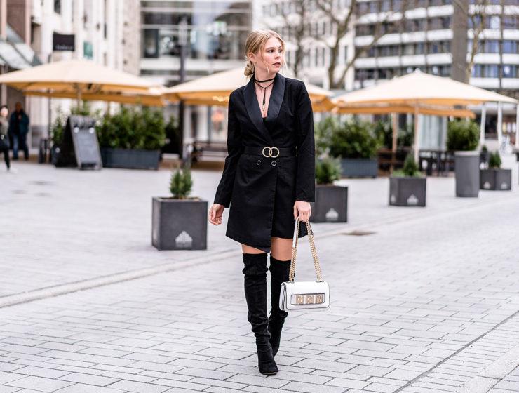 fashion blogger sunnyinga blazerkleid streetstyle outfit schwarz