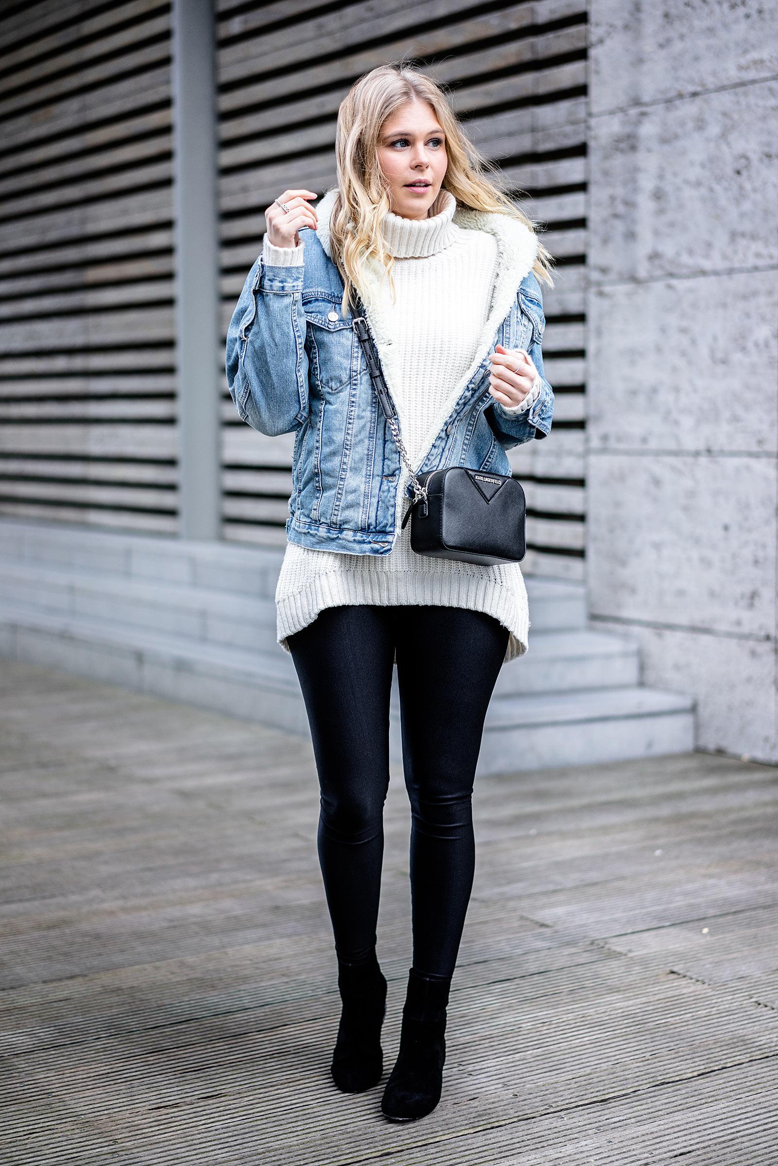 Fashionblogger ootd Streetstyle Outfit Jeansjacke Rollkragenpullover Sunnyinga