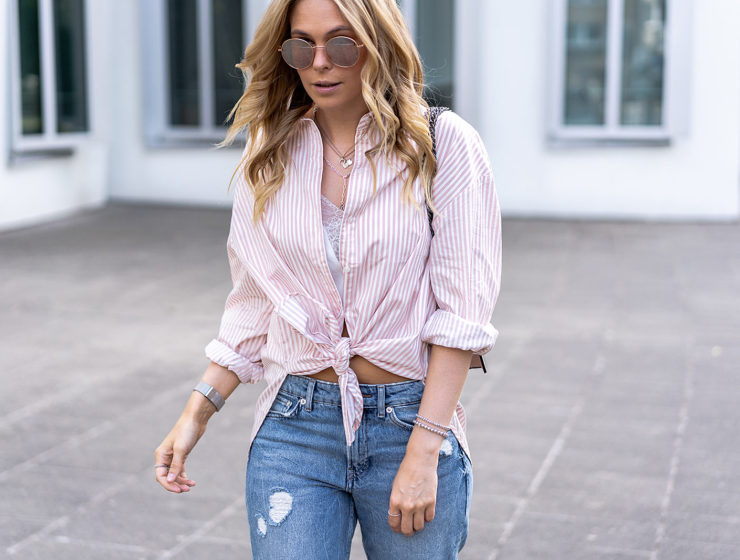 hemdbluse outfit girlfriend jeans fashion blogger sunnyinga