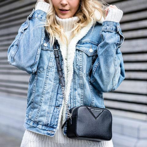 Jeansjacke mit Fell Outfit Fashion Blogger Sunnyinga