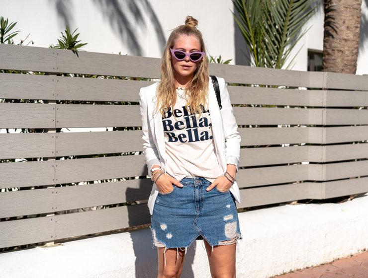 jeansrock outfit blazer fashion blogger sunnyinga