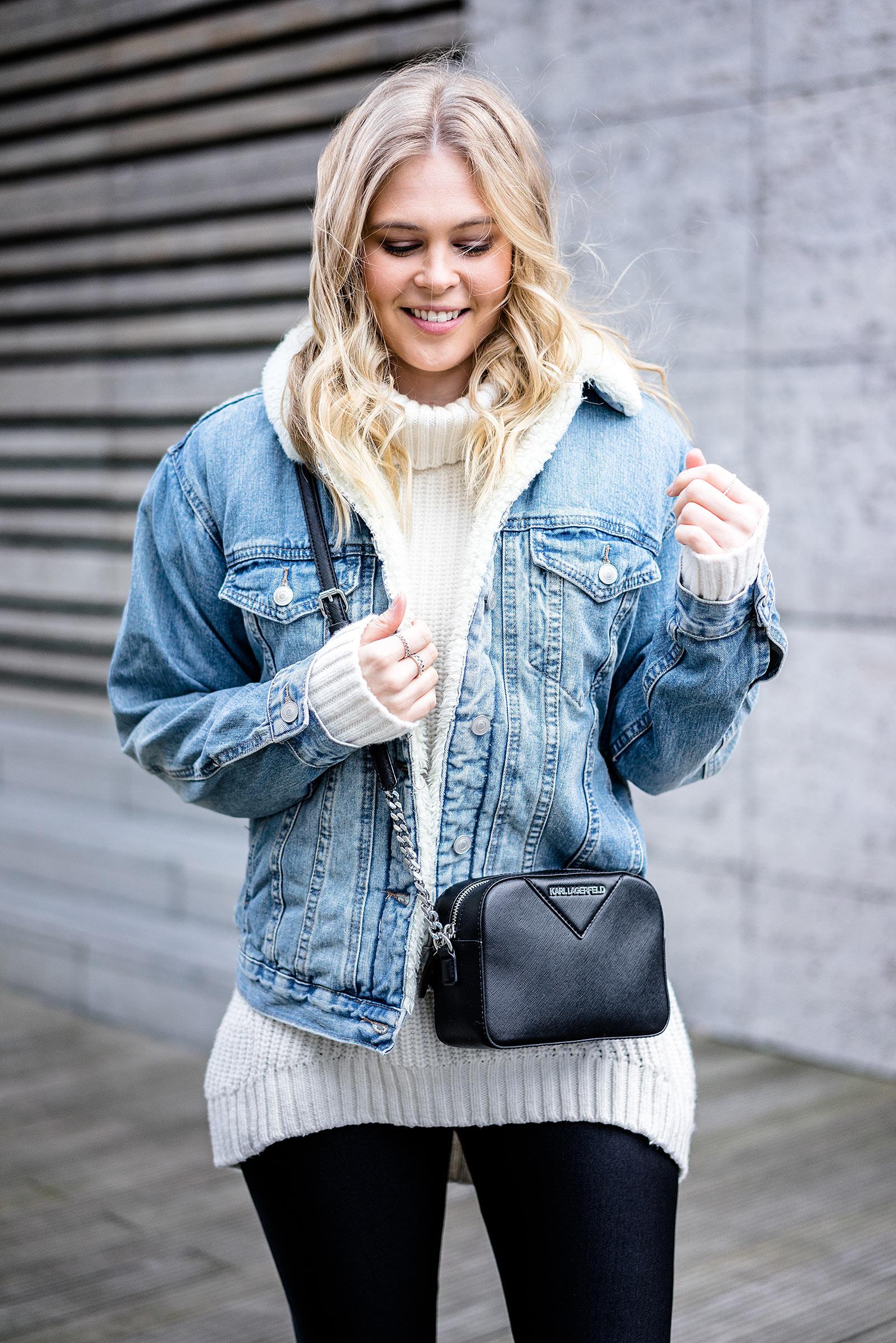 Karl Lagerfeld Tasche schwarz Outfit Modeblog Sunnyinga Jeansjacke mit Fell