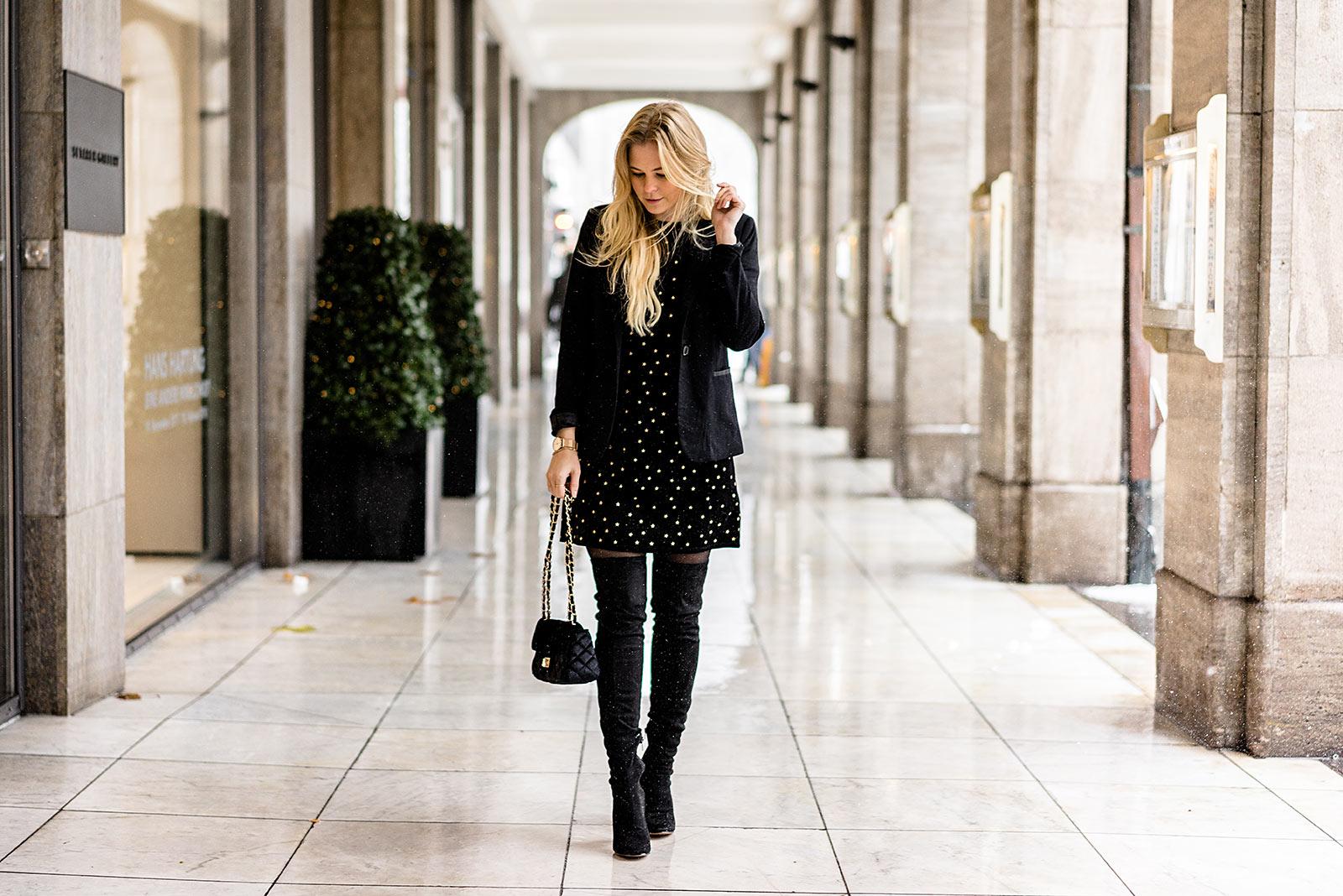 Kleid Overknees schwarz Outfit Weihnachten Sunnyinga Fashion Blogger