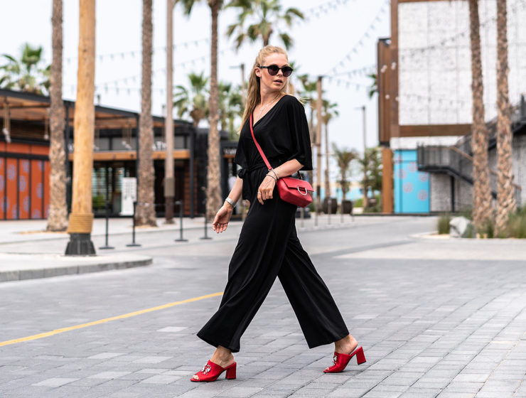 langer jumpsuit outfit rote mules fashion blogger sunnyinga