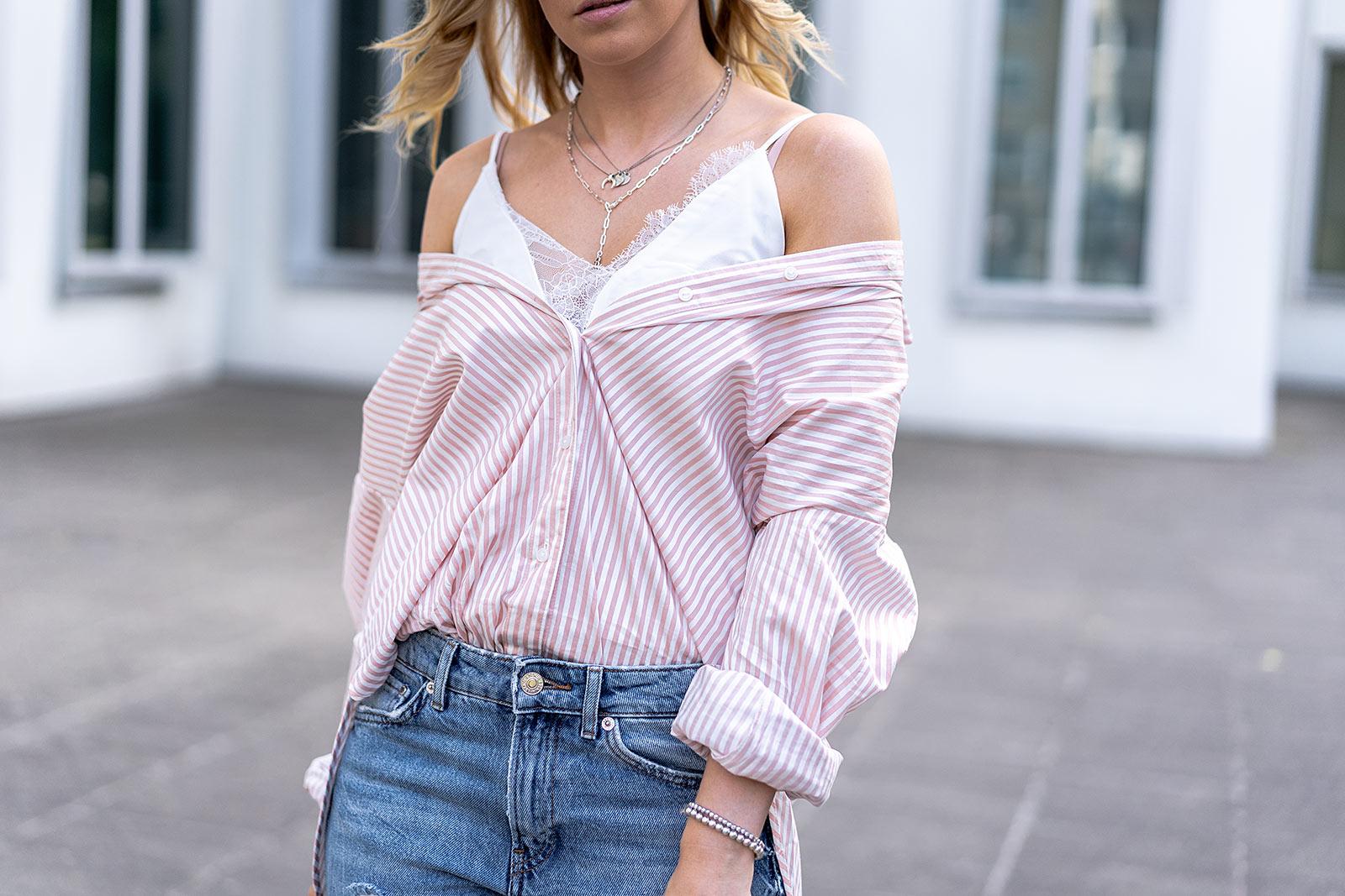 off shoulder hemdbluse outfit modeblog sunnyinga