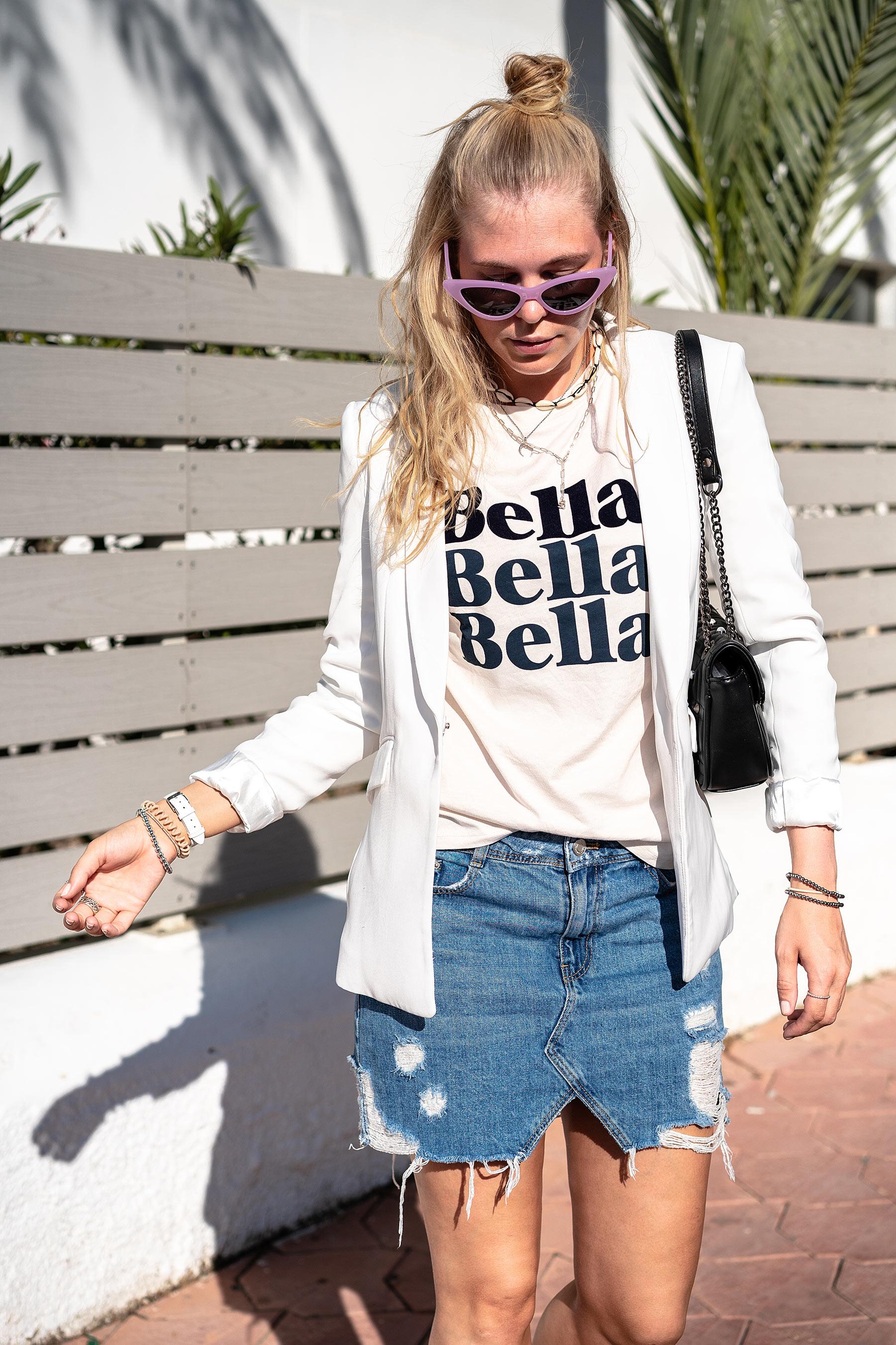 outfit jeansrock blazer modeblog sunnyinga