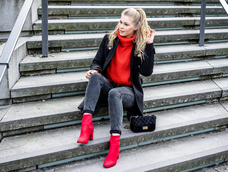 rote Schuhe kombinieren Outfit Idee Fashion Blogger Sunnyinga