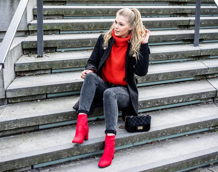 rote Schuhe kombinieren Outfit Idee Fashion Blogger Sunnyinga