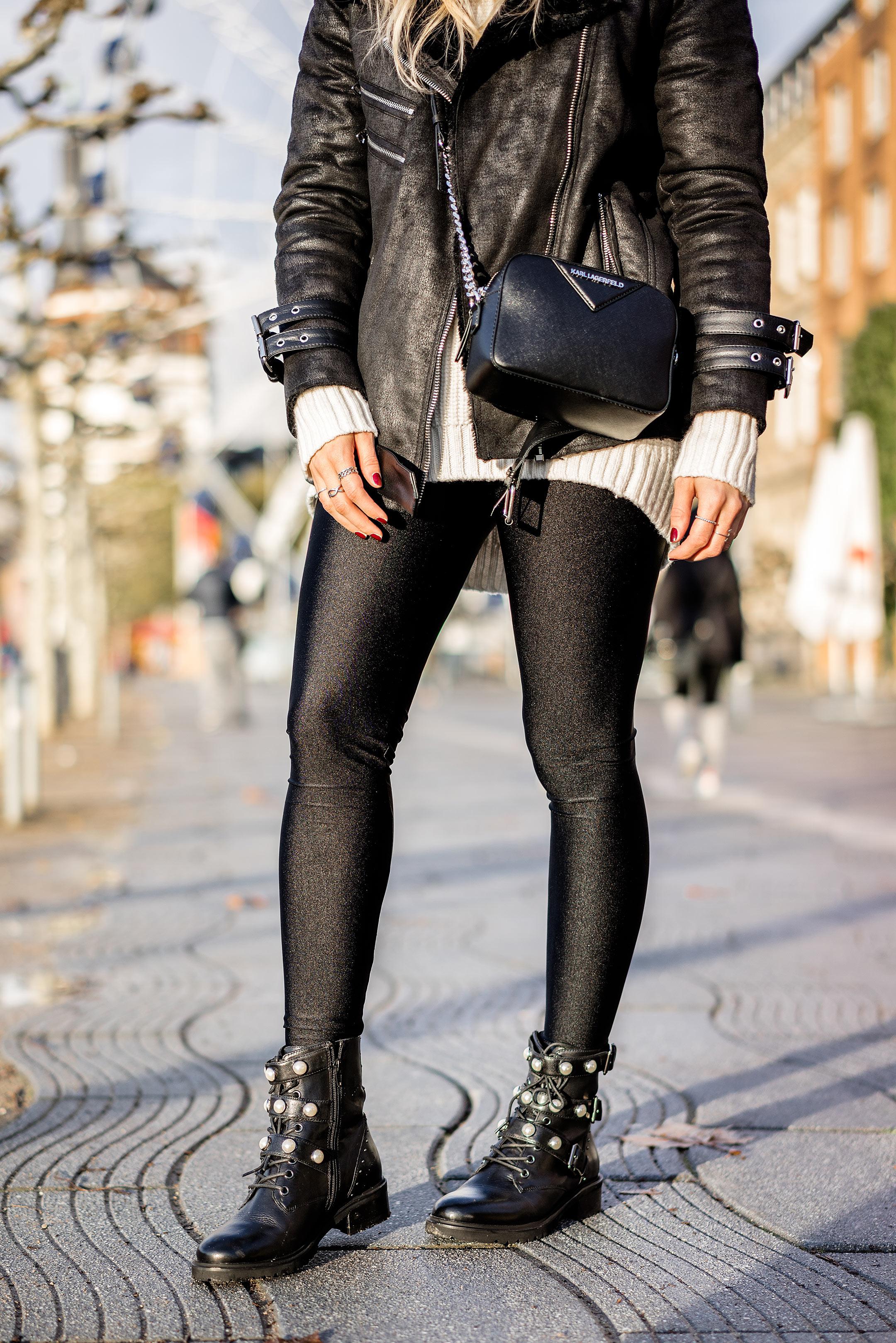 Sacha Biker Boots mit Perlen und Schnallen Outfit Herbst Fashion Blogger Sunnyinga