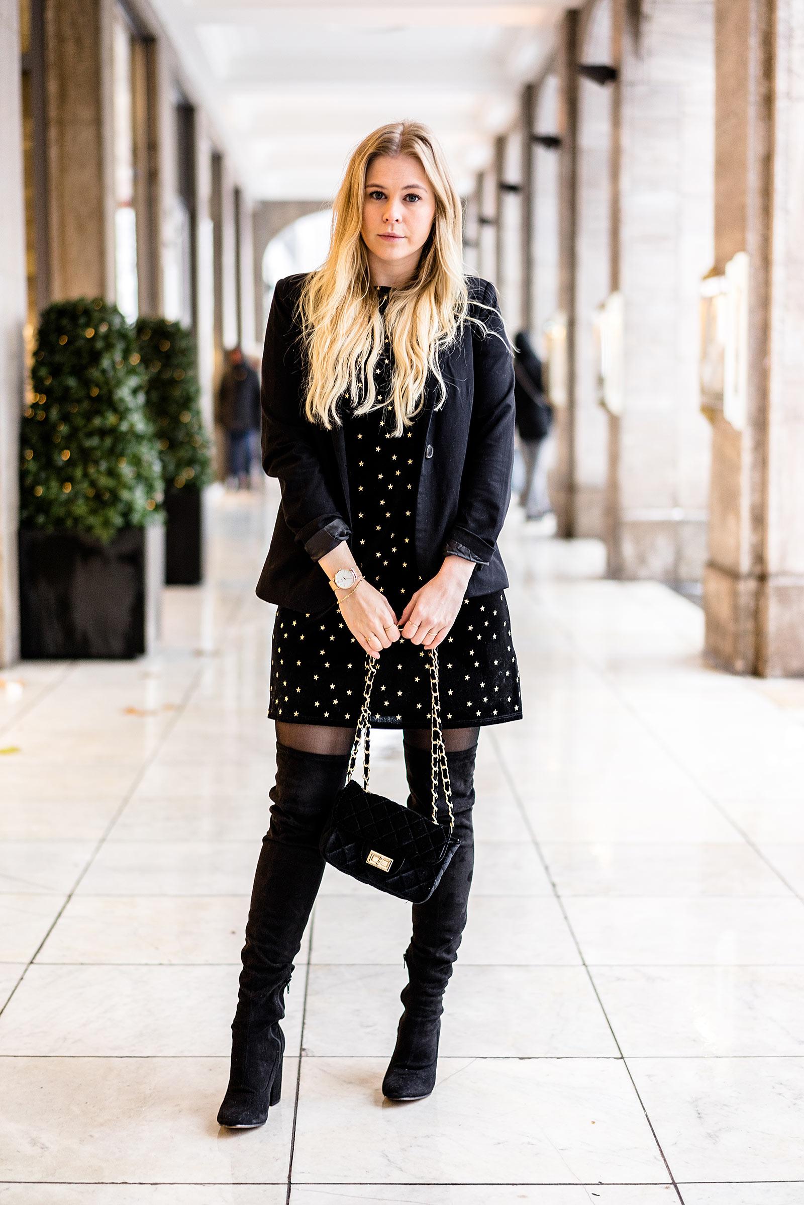 Sunnyinga Outfit Weihnachten Fashion Blog Kleid Samt schwarz