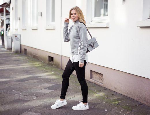 Sweatershirt Schnürung Sneaker Sternchen Sunnyinga Fashionblog Düsseldorf