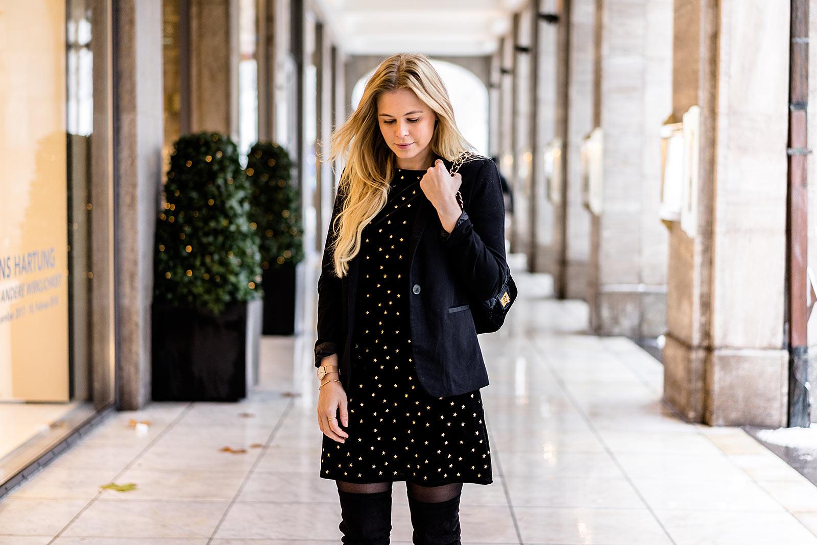 Weihnachtskleid aus Samt schwarz New Look Modeblog Sunnyinga