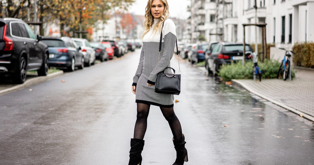 wie man serch beste website bis zu 80% sparen Outfit: Winterkleid x Slouch Boots w/ Zalando - Sunnyinga ...
