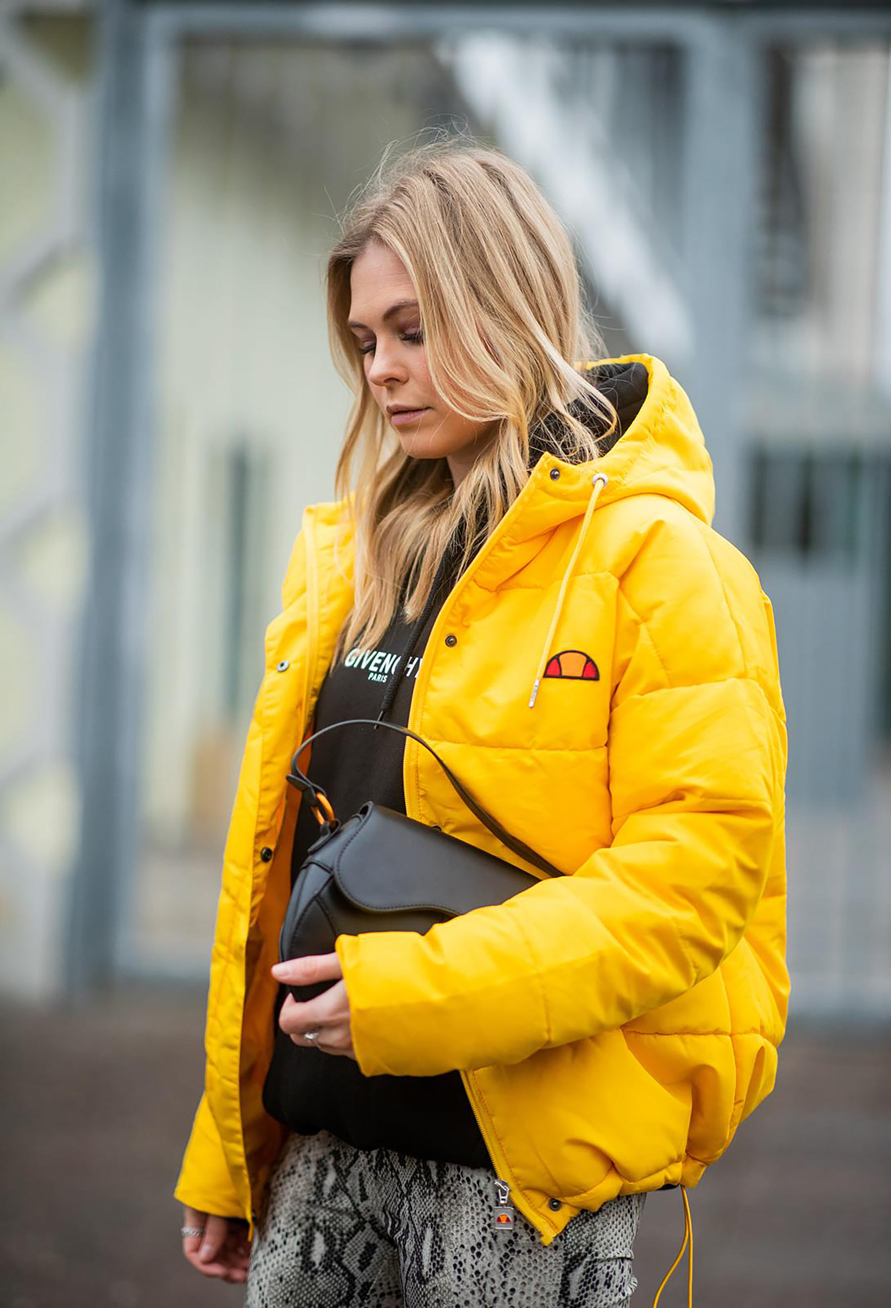yellow puffer jacket blogger fashion week sunnyinga