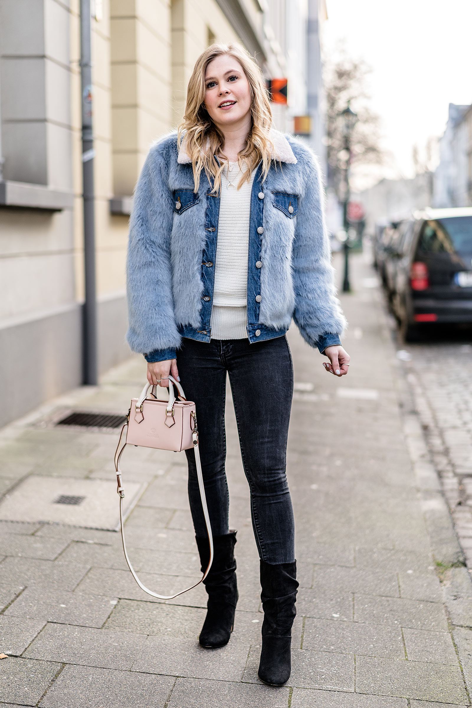zara jeansjacke mit fell outfit fashion blogger streetstyle sunnyinga